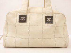 CHANEL White Caviar Skin Hand Tasche weise Leder Boston Hand Bag