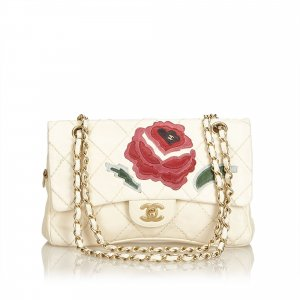 Chanel Wild Stitch Lambskin Flap with Rose Applique