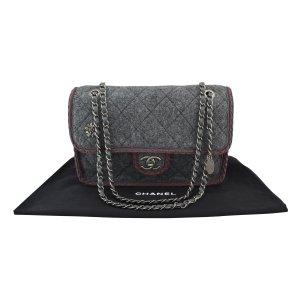 Chanel Borsa a spalla grigio scuro Lana