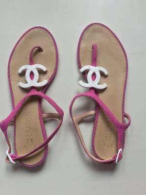 Chanel Toe-Post sandals pink-white