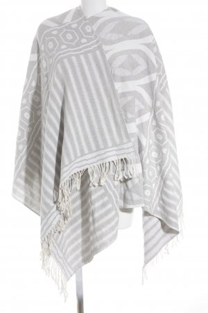 Change by White Label Poncho weiß-hellgrau Aztekenmuster Ethno-Look