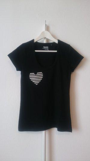 Camiseta negro-blanco Algodón