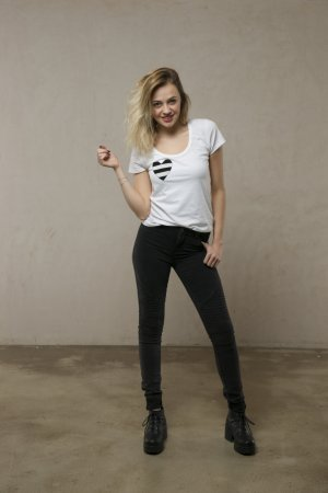 Camiseta blanco-azul oscuro Algodón