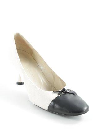 Charles Jourdan Keil-Pumps schwarz-creme Elegant