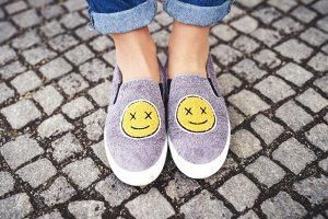 Charles & Keith Slip-on Shoes grey-yellow themed print extravagant style