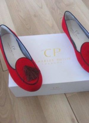 Charles Philip Shanghai Loafer Tassel Samt Velvet Mokassins Slipper