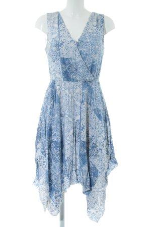 Charles Vögele Minikleid blau-weiß Allover-Druck Casual-Look