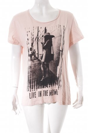 Charles Vögele T-Shirt apricot-schwarz Motivdruck Casual-Look