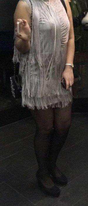 Robe à franges taupe-argenté