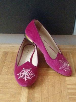 Charlotte Olympia Gr. 38,5 1/2 Slipper Slipons Ballerinas pink rosa spider