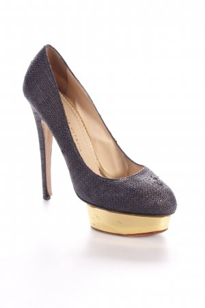 Charlotte olympia High Heels anthrazit-goldfarben Party-Look