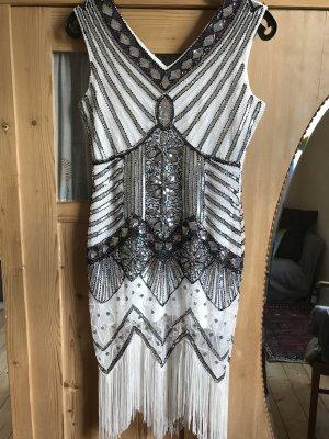 Charlston Kleid, weiß silber mit Fransen in Größe M