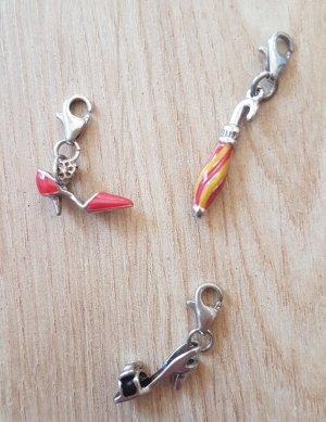 Charm Anhänger Armband Kette Schwarze Sandale, Roter Pumps, Bunter Regenschirm 3er Set
