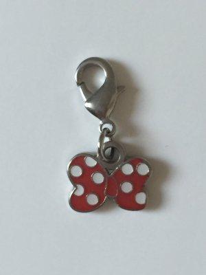 Charm Anhänger Mini Maus Schleife rot mit weißen Punkten