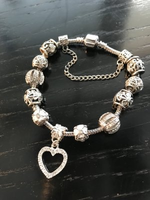 Charm-Armband mit Herz-Anhänger, diversen Charms und Kristallen