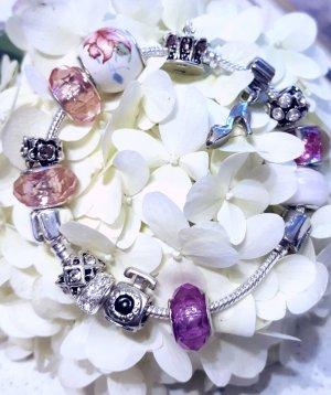charm armband silber rosa