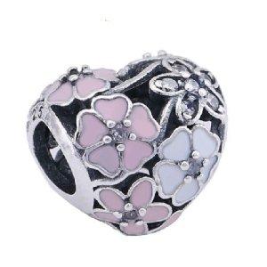 Charm Bead Element Herz malerische Blüten kompatibel mit führenden Marken silber
