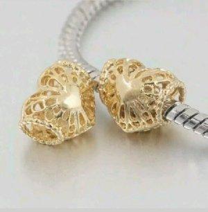 Charm Bead Element Herz mit Gold Herz kompatibel mit führenden Marken Gold