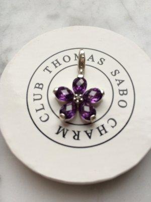Charm Blume Zirkonia violett, 925er Silber