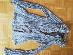 Marvin Browne Ruche blouse lichtgrijs-donkergrijs Polyester