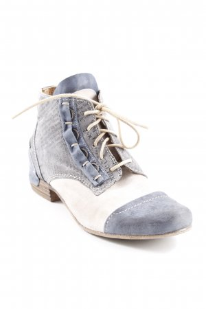 Charme Lace-up Boots slate-gray-cream abstract print extravagant style