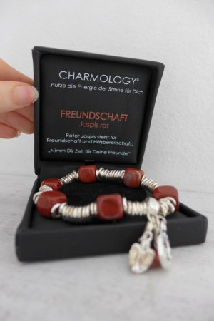 Charmology Stretch Ringe Charms Armband Freundschaft Jaspis rot silber neu