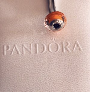 Pandora Charm silver-colored-neon orange