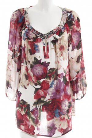 Charter Club Langarm-Bluse rot-magenta florales Muster Casual-Look