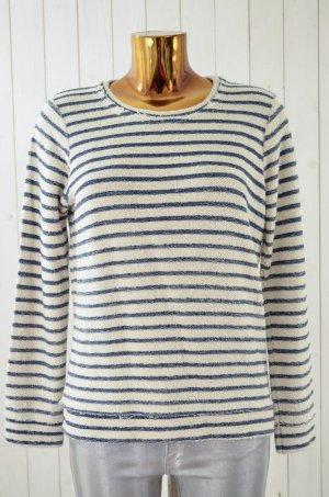 CHASOR Damen Sweatshirt Ecru Blau gestreift Bouclé Baumwolle Polyester Gr.M