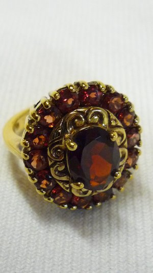 Gold Ring gold-colored-brown red real silver