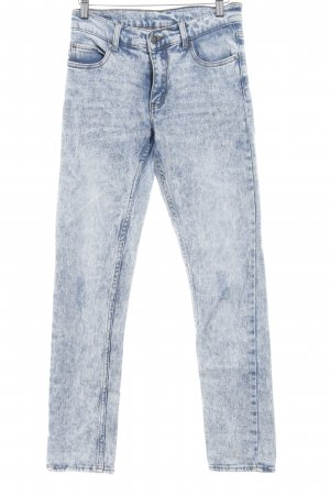 Cheap Monday Skinny Jeans kornblumenblau-weiß meliert Used-Optik