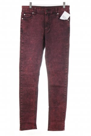 Cheap Monday Skinny Jeans schwarz-neonrot Washed-Optik
