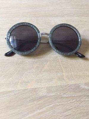 Cheap Monday Sonnenbrille rund Glitzer silber Seventies