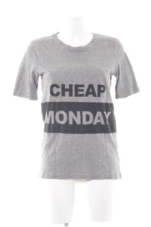 Cheap Monday T-Shirt grau-schwarz Schriftzug gedruckt Casual-Look