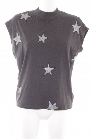 Cheap Monday T-shirt grijs-zilver Sterrenpatroon casual uitstraling