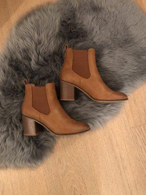 Chelsea Boots Cognac 38 Absatz Stiefelette