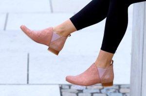 Chelsea Boots Damen Stiefeletten Echt Leder Lachs von Tapodts Gr. 37