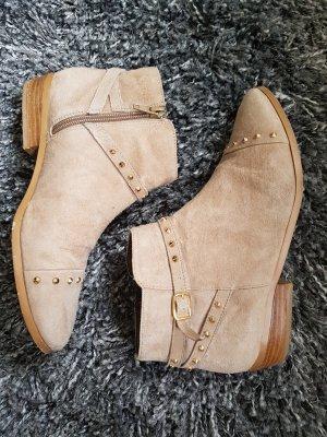 Chelsea Boots Görtz 36 beige Leder Nieten Stiefeletten Stiefel Ankleboots