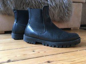 Chelsea Boots Leder schwarz Gr. 39 Hallhuber