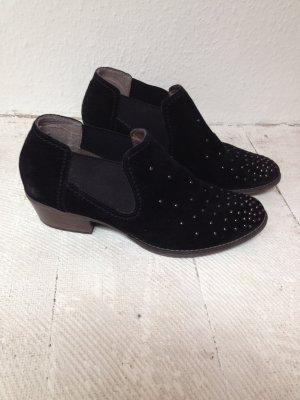 Tamaris Chelsea Boots black-silver-colored suede