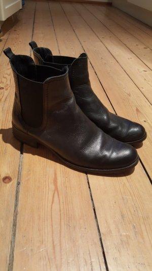Chelsea Boots schwarz echtes Leder Gr. 38 Stiefeletten