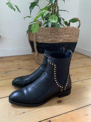 Zara Slip-on Booties black-gold-colored