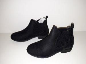 Chelsea Boots Stiefeletten 37 schwarz Glanz Wildleder Optik