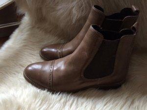 Chelsea-Boots, Vintage Leder, NEU, Gr. 39, Budapester Lochmuster