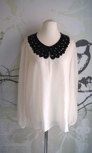Tuniekblouse wolwit-zwart Polyester