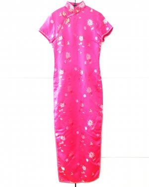 cheongsam / china dress / pink / satin