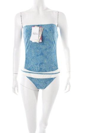 Cherie bano Badeanzug kadettblau-türkis florales Muster Beach-Look
