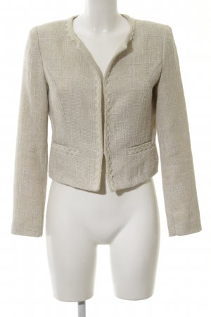Cherry Tweed Blazer cream weave pattern business style