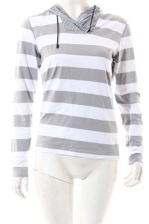 Chervo Kapuzenshirt weiß-hellgrau Streifenmuster sportlicher Stil