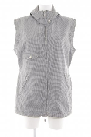Chervo Long Knitted Vest light grey-white check pattern casual look